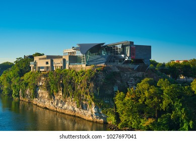 CHATTANOOGA, TN - AUGUST 24, 2017: Perched 80 feet above the Tennessee River, the Hunter Museum of American Art offers stunning views inside and out, with American art of many styles and eras.
