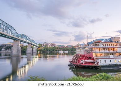 CHATTANOOGA, TN - SEPTEMBER 8: The Delta Queen riverboat hotel as seen from Coolidge Park on September 8, 2014 in Chattanooga.