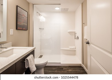 Chattanooga, TN / USA - 08/31/17: TownPlace Suites Interior Bath Room View
