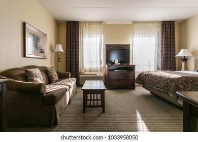 Chattanooga, TN / USA - 12/03/2015: Staybridge suites room view