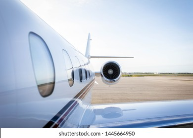 Chattanooga, TN/ USA - January 3rd, 2019  Sleek plane angled on the runway. Plane Engine.