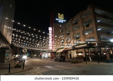 Chattanooga, TN/ USA - March 12, 2019: View of the Streets of Downtown Chattanooga Tennessee at Night.