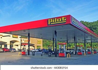 CHATTANOOGA, TN-JUNE 24, 2016:  Pilot Travel Center and truck stop.  Pilot and Flying J are truck stops owned by the same company.
