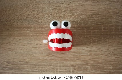 Chattering teeth toy on a table.