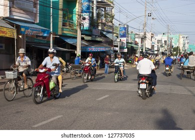 CHAU DOC, VIETNAM - JULY 23: Road Traffic on July 23, 2012 in Chau Doc, Vietnam. It is a town in the Mekong Delta region of Vietnam with a population of 112,155.
