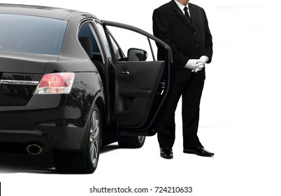 Chauffeur waiting for limo passenger