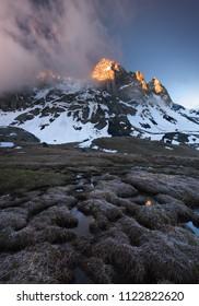 Chaukhi Mount in the morning light. Caucasus, Georgia