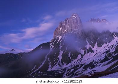 Chaukhi Mountain in twilight. Caucasus, Georgia