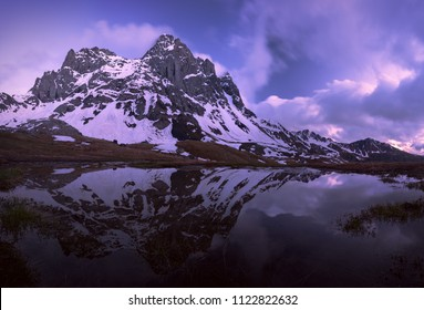 Chaukhi Mountain in twilight. Caucasus, Georgia