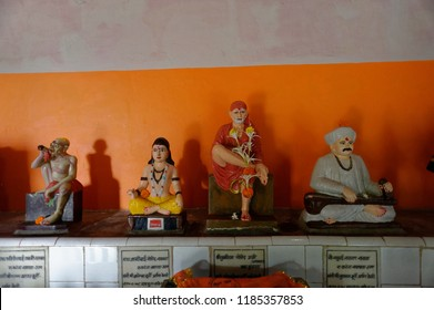 Chaul Alibag Maharashtra India August 24 2018 Idols of hindu saints in temple