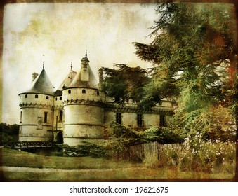 Chaumont castle - vintage picture in watercolor style