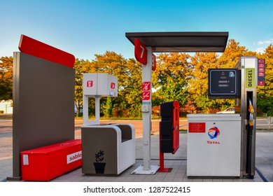 Chaumont, France-September 01,2018:TOTAL fuel and gas station.Total SA is a French oil company headquartered in the Tour Total Coupole in the high-rise district of La Défense in Courbevoie near Paris
