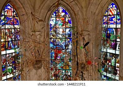Chaumont sur Loire; France - june 29 2019: chapel of the renaissance castle built by Charles II de Chaumont d Amboise