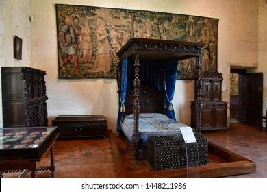 Chaumont sur Loire; France - june 29 2019: the Catherine de Medicis bedroom in the renaissance castle built by Charles II de Chaumont d Amboise