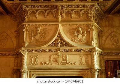Chaumont sur Loire; France - june 29 2019: fire place in the renaissance castle built by Charles II de Chaumont d Amboise