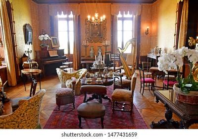 Chaumont sur Loire; France - june 29 2019: living room inthe renaissance castle built by Charles II de Chaumont d Amboise