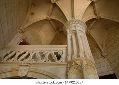 Chaumont sur Loire; France - june 29 2019: stairs in the renaissance castle built by Charles II de Chaumont d Amboise