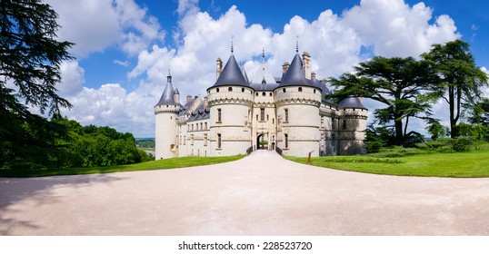 Chaumont-s-Loire, France - May 29, 2014: Chateau Chaumont-s-Loire. View of part of the castle and the garden circumstances.