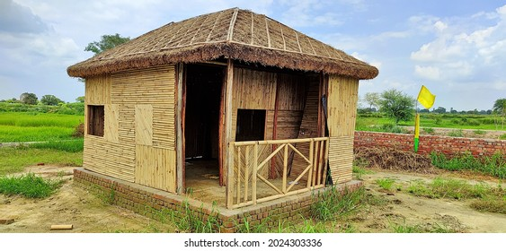 Chaumuhan, Mathura, India - August 5, 2021: Beautiful bamboo cottage built in a Deserted rural area of Utter Pradesh.