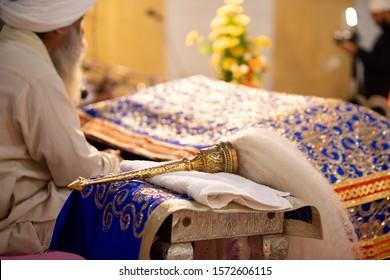 Chaur sahib for Guru Granth sahib. Sikh Religion Chaur sahib in Gurudwara sahib.