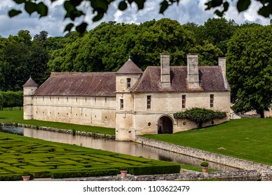 CHAUSSY, FRANCE - MAY 31ST, 2018. Field of Villarceaux in the Val-d'Oise. the manor of Ninon 13th century, a labyrinte of greenery, a waterway.