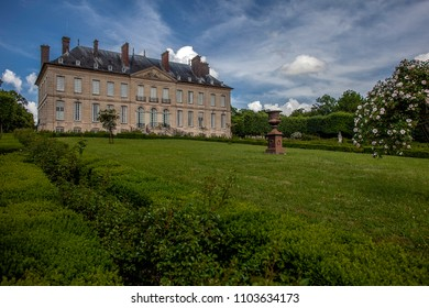 CHAUSSY, FRANCE - MAY 31ST, 2018. Field of Villarceaux in the Val-d'Oise. Castle top.