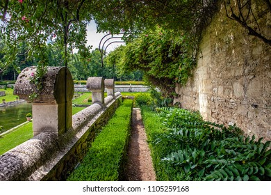 CHAUSSY, FRANCE - MAY 31ST, 2018. Field of Villarceaux in the Val-d'Oise. Medieval garden and its medicinal herbs, with sight on the trees.