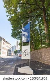 Chaut-de-Fonts,Switzerland-Sept.03,2018:Entrance to clock museum in Chaut-de-Fonts