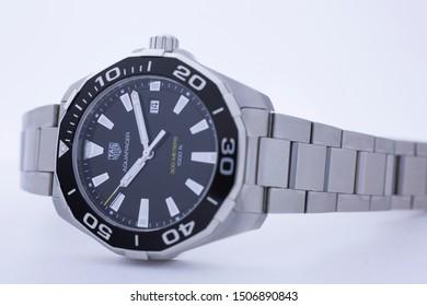 Chaux-de-Fonds, Switzerland, August 21 2019 - The close up of Tag Heuer Aquaracer steel black mecanical watch