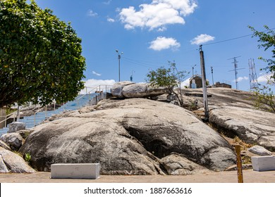 Chaval - Ceará - Brasil - SEP 11 2020: Partial View of the Stone of the Grotto of Our Lady of Lourdes