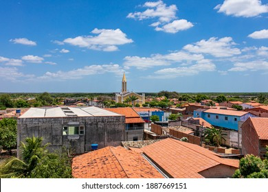 Chaval - Ceará - Brasil - SEP 11 2020: Partial view of the tower of the church of Santo Antônio