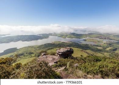 """Chavantes Dam, sight from the top of """"Morro do Gaviao"""" (Hawk's Hill in English) at Ribeirao Claro, Parana, Brazil"""