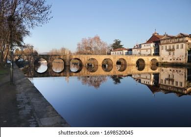 Chaves Roman Bridge Reflexion River Sunny Summer