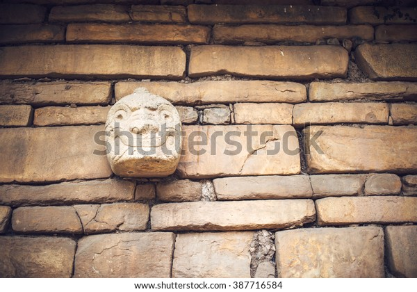 Chavin de Huantar in Huaraz, Peru, South America. Stone Heads