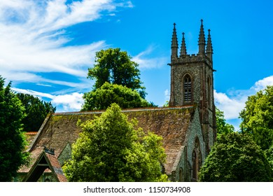 Chawton, Hampshire, UK: Roof and tower of St Nicholas Church, Jane Austen's Parish Church and the burial place of her mother and sister.