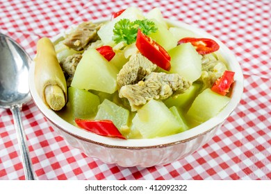 Chayote cooked with coconut milk and meat, Indonesian food sayur labu siam
