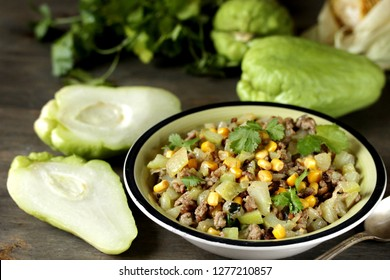 "chayote dish with minced meat and corn. Latin American dish.  mexican dish ""Picadillo de chayote"""