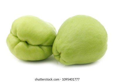 chayote fruits (Sechium edulis)  on a white background