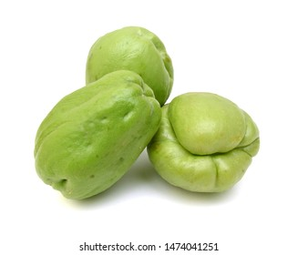 Chayote also known as chow chow and many other names isolated on white.