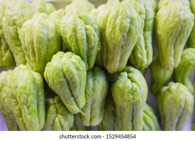 Chayote Sechium edule fruit / fresh chayote squash in the vegetable market aians