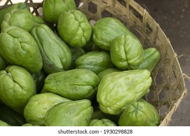 Chayote or Sechium edule on basket ready for sale.Fresh chayote background