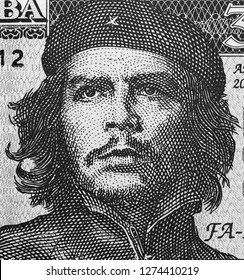 Che Guevara face portrait on Cuba banknote macro. Communist revolutionary, icon of Cuba revolution, communism, marxism.