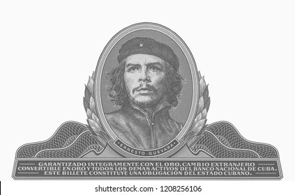 'Che Guevara' on 3 pesos Cuban banknote Reverse of the Cuban three pesos banknote showing the revolutionary communist leader 'Che Guevara' cutting sugar cane. Close Up UNC Uncirculated - Collection.
