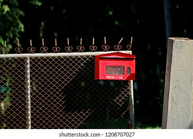 CHEANGMAI-THAILAND-DECEMBER 5 : Red Post on steel fence, December 5, 2015, Cheangmai Province, Thailand.