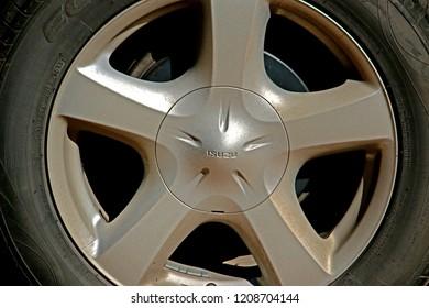 CHEANGMAI-THAILAND-DECEMBER 5 : Steel wheel of car texture, December 5, 2015, Cheangmai Province, Thailand.