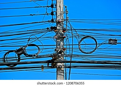 CHEANGMAI-THAILAND-DECEMBER 5 : Telecommunication line on concrete pole, December 5, 2015, Cheangmai Province, Thailand.