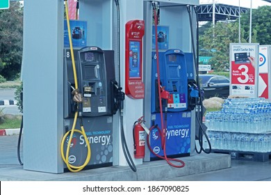 CHEANGMAI-THAILAND-NOVEMBER 25 : Detail of oil station near  the road, November 25, 2020, Cheangmai Province, Thailand.