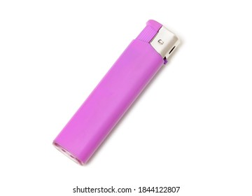 Cheap pink plastic gas disposable lighter isolated on white background - Shutterstock ID 1844122807