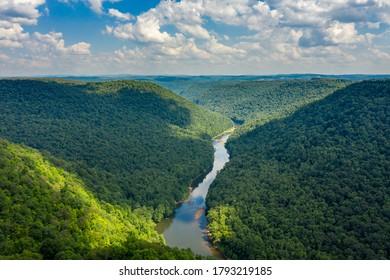 Cheat River makes its way through narrow wooded gorge towards Cheat Lake near Morgantown, WV