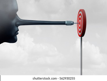 Cheating and cheater concept as a dishonest person with a long liar nose shaped as a dart hitting a target as a business metaphor for improper means of achieving a goal with 3D illustration elements.